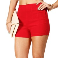 Red High Waisted Side Zip Shorts