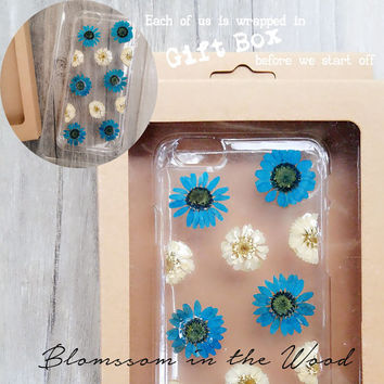 Blue Hydrangea iPhone 6s Clear Case , Pressed Flower iPhone 6s Case, Clear iPhone 6s Case, iPhone 6s Plus Flower Case, iPhone 5s