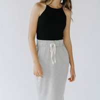 East Coast Jersey Midi Skirt (Grey)