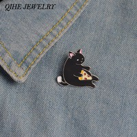 QIHE JEWELRY Pizza Cat Enamel Lapel Pin Button Hat Jeans Bag Decoration Gift Cat Jewellery Cat Gifts
