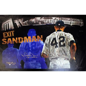 Mariano Rivera Signed Stephen Holland Exit Sandman Giclee 25x44 Canvas w Exit Sandman Insc. (LE MR of 42)