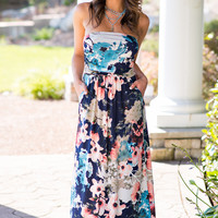 Lost In The Crowd Floral Print Maxi Dress (Navy)
