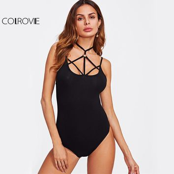 Strappy O-Ring Caged Club Bodysuit Sexy Skinny Women Black Choker Neck Bodysuits New Casual Cut Out Cami Bodysuit