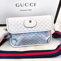 GUCCI Fashion New More Letter Print Leather Shopping Leisure Shoulder Bag Women White