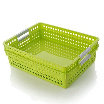 Desktop file storage baskets Storage basket plastic basket basket finishing office A4 file storage box magazine rack (B, Green)