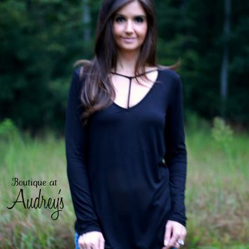 Black Long Sleeve Top with Strap Detail at Neckline