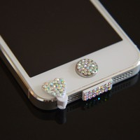Colorful Bling Luxary Crystal Diamond Anti Dust Dock Charger Port Plug+Ear Plug+Home Button For iPhone 5 5G