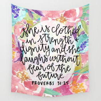 Proverbs 31:25 Floral // Hand Lettering Wall Tapestry by BySamantha | Samantha Ranlet