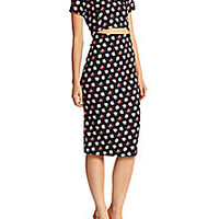 SUNO - Rose-Print Stretch Silk Cutout-Waist Dress - Saks Fifth Avenue Mobile