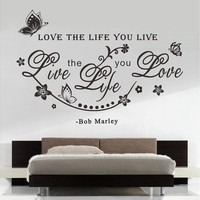 """Home Decoration """"Love The Life You Live"""" Bob Marley Quotes Vinly Art Wall Sticker Living Room Decals Wall Decor"""