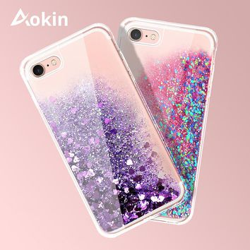 Aokin Cover for iPhone 7 Case Glitter Stars Dynamic Liquid Quicksand Luxury Pink Silicone for Apple iPhone 7 Plus Case for Women