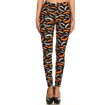 Women's 3X 5X Halloween Colorful Bat Pattern Printed Leggings