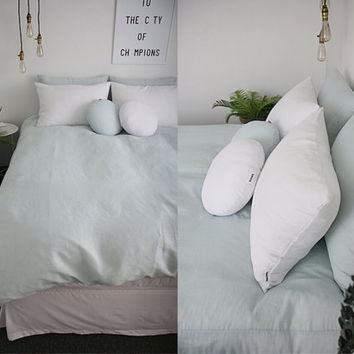 Washed Pale Mint / Creamy Mint Colored Linen Soft Twin / Queen Size Bedding Set