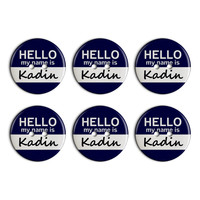 Kadin Hello My Name Is Plastic Resin Button Set of 6