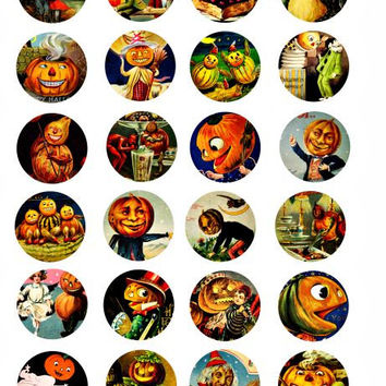 Halloween pumpkin head people jackno lantern digital download 1.5 inch circles collage sheet for pendants buttons pins
