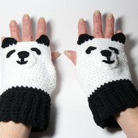 Panda fingerless gloves, animal fingerless mittens, black and white crochet mittens.