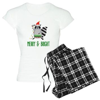 Merry & Bright Racoon with Christmas Lights Women's Light Pajamas