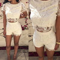 Sexy Womens Crop Top and Skirt Set Short Sleeve Two-piece Bodycon Short Shorts