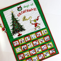 Grinch Advent Calendar Quilted Wall Hanging Dr. Suess Childrens Activity Panel