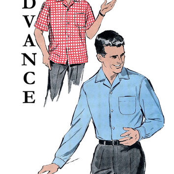 "Vintage 1960s Advance  9414 Men's Convertible Collar Shirt - Long /Short Sleeve -Neck Size 15 1/2""/ Chest 40 - UNCUT Mad Men Sewing Pattern"