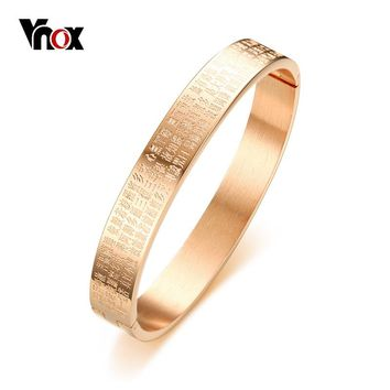 Vnox Chinese Buddhism Text Engraved Bracelet for Women Cuff Bangle Stainless Steel Elegant Female Jewelry Rose Gold Color