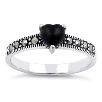 Black Onyx Heart Marcasite Ring