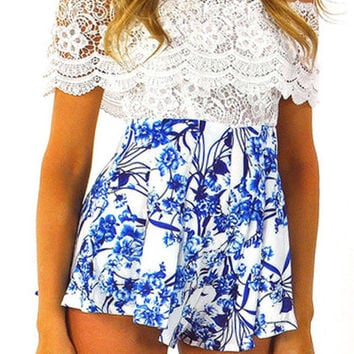 White Floral Print Lace Panel Romper