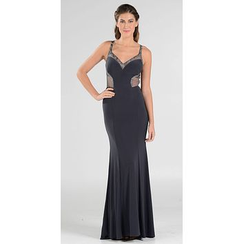 Poly USA 7692 V-Neck Long Formal Dress Sequins Open Back Cutouts Charcoal