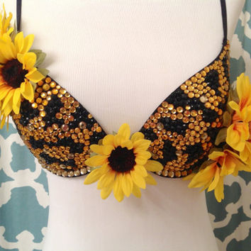 Sunflower//Black and Yellow Rhinestone Rave Bra by xFairyLandx