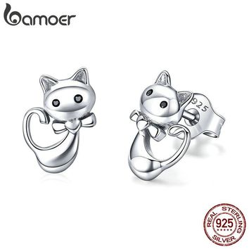 Sterling Silver Cat Small Stud Earrings
