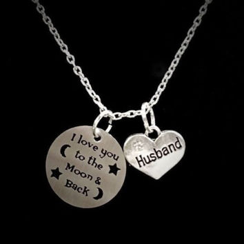 Infinity I Love You To The Moon And Back Husband Hubby Gift Necklace
