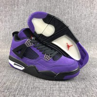 Travis Scott x Air Jordan 4 Retro Purple Basketball Shoes US7-13