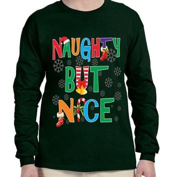 Men's Long Sleeve Naughty But Nice Cute Xmas Shirt Humor Gift