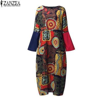 CUPUP9G ZANZEA Retro 2017 Spring Womens Crew Neck Random Floral Batwing Sleeve Kaftan Casual Party Boho Baggy Maxi Long Dress