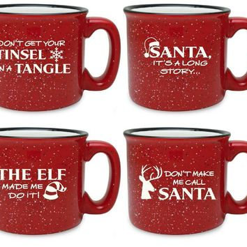 Assorted Holiday Red Camp Mugs (Set of Four)