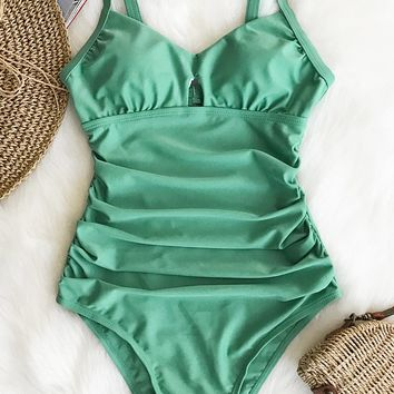 Cupshe Green Grass Solid One-piece Swimsuit
