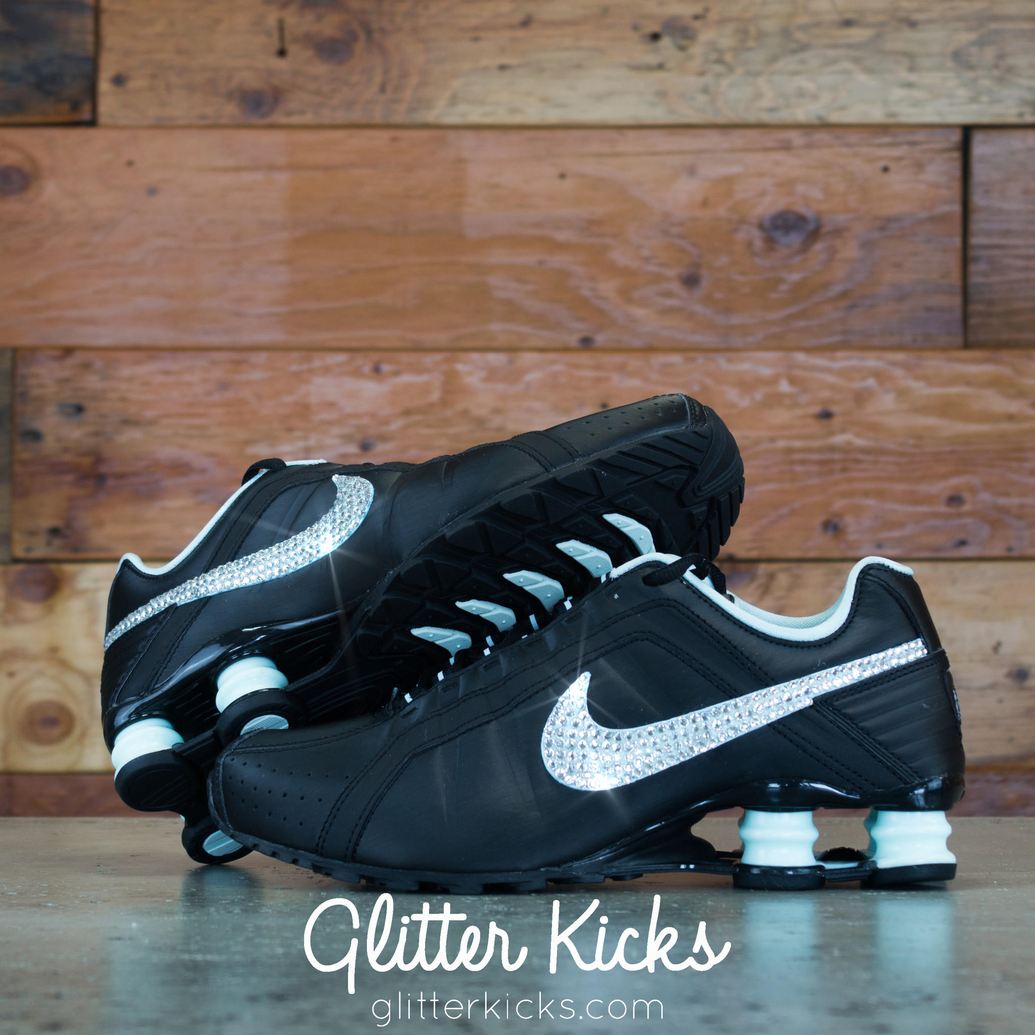Nike Shox Current Glitter Kicks Running Shoes Black Tiffany 574126977522