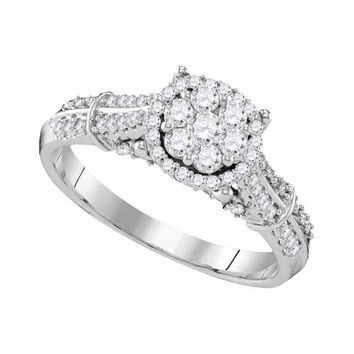 10kt White Gold Womens Round Diamond Flower Cluster Bridal Wedding Engagement Ring 5/8 Cttw