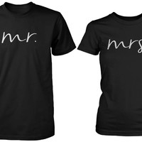 Mr and Mrs Cursive Writing Matching Couple Black T-shirts (Set)