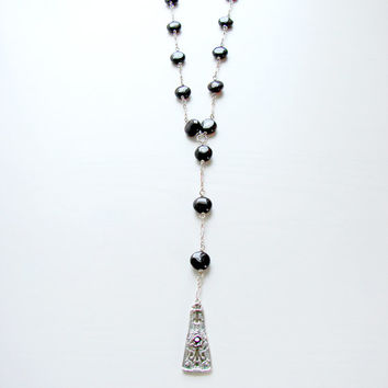 Silver Extra Long Rosary Style Garnet Necklace