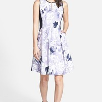 Women's Ellen Tracy Print Block Poplin Fit & Flare Dress,