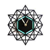 GeoPoly Wall Clock in Black & Aqua