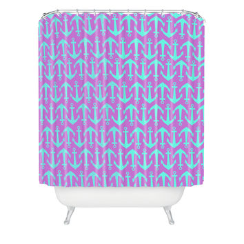 Allyson Johnson Purple Anchors Shower Curtain