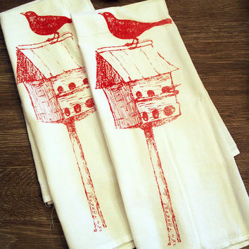 Towel Set of 2 - Red BIRDHOUSE Flour Sack Kitchen Dish Towels - Renewable Natural Cotton