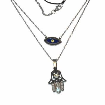 "mnec-ss-1229-e13 Stainless Double Necklace, Evil Eye, Hamsa, 16"" and 18"", 15mm pendants,"
