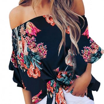 Navy Off Shoulder Floral Tie Front High Low Chiffon Blouse