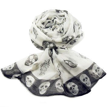 New Fashion Cool Hot Sale Female Polyester Skull Heads Printing 3 Color Long Square Women Scarf Shawl Apparel Accessories Gift