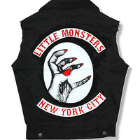 LADY GAGA THE MONSTER BALL TOUR PATCHES BLK DENIM VEST NYC NEW RARE LADIES M