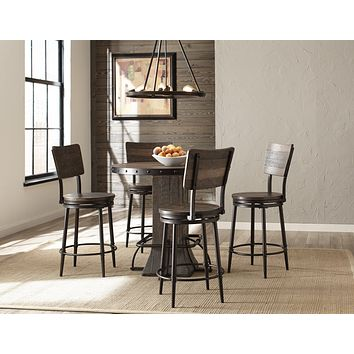 4022CDTS5PC Jennings 5-Piece Round Counter Height Dining Set with Swivel Counter Stools