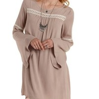 Taupe Peasant Shift Dress by Charlotte Russe